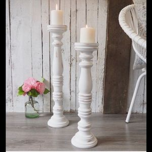 Fiddle & Fern Wooden Candle Holders (2)